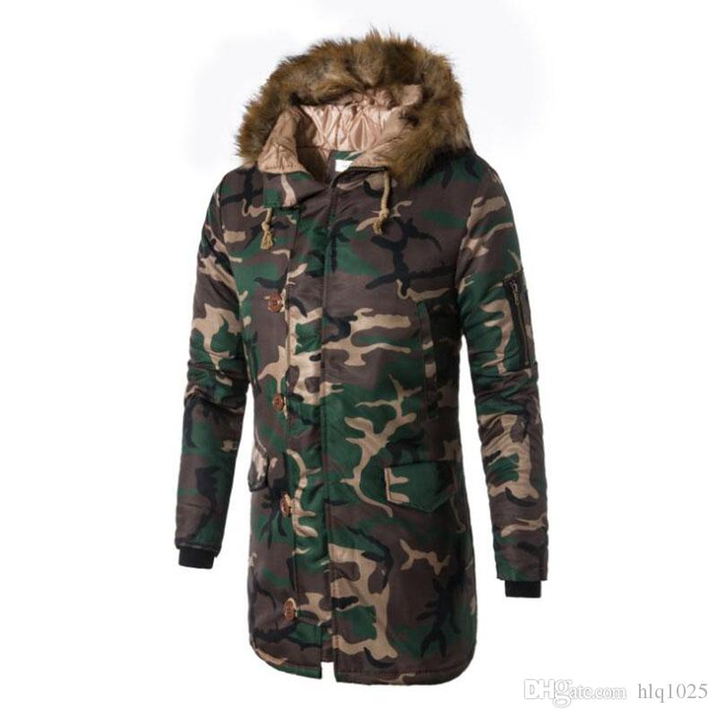 8a0defbb56e3 Winter Mens Long Camo Jackets Extended Warm Parka Male Cotton Lined ...