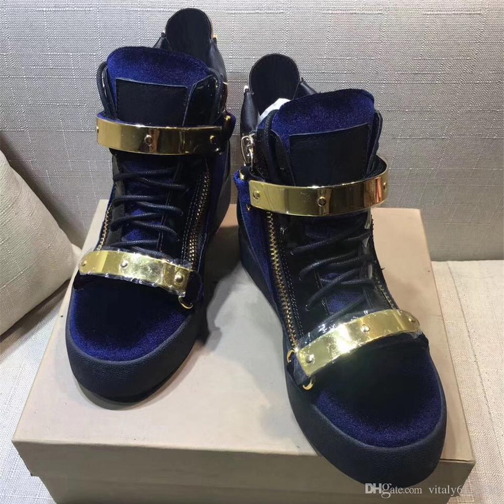 Neues Design Frauen und Männer Mode Sneakers Hohe Schuhe Unisex Casual Reißverschluss Metallschnalle Strap Stiefel