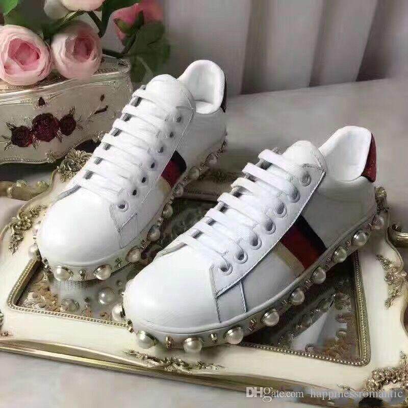 New Arrivals Spring Autumn Womens Black White Genuine Leather Casual Lace  Up Sneakers Trainer Gold Studs Beads Pearl Embroidery Shoes Tennis Shoes  Ladies ... cdcecb221