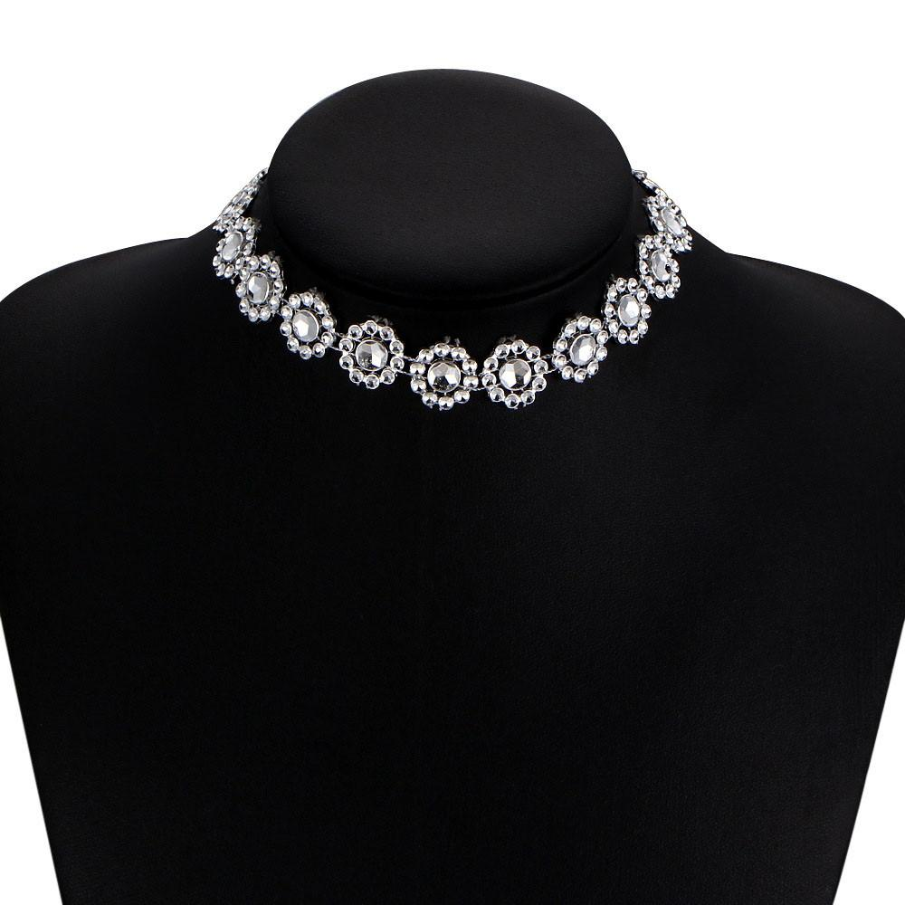 20474e6f1aff9 2017 New Gold Multilayer Lady Diamante Choker Necklace Rhinestone Silver  Crystal Party Bridal Necklace collier Femme Colares USP