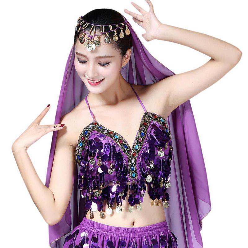 1e079f9ee5677 2019 Sexy Women Sequin Halter Bra Top Salsa Belly Dance Festival Club  Tribal Top Beading Coins Tassel Lace Cami Belly Dancing From Hoeasy