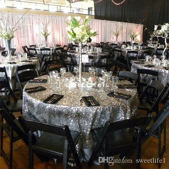 Sparkly Black Sequins Table Cloth Shining Fabric Rectangle Sequin Round Table Hot Sale
