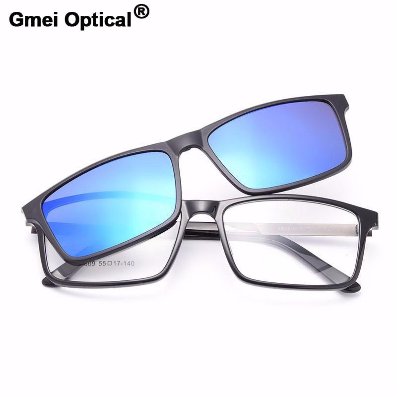32ddbc988c3c 2018 Gmei Optical 1609 Urltra Light TR90 Eyeglasses Frame With Polarized  Clip On Sunshades For Women And Men Eyewear From Juemin