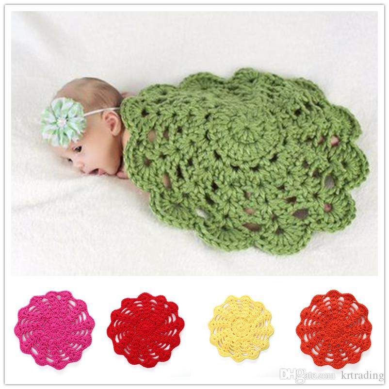Newborns Crocheted Circular Blanket Multicolor Cute Baby Boys Girls