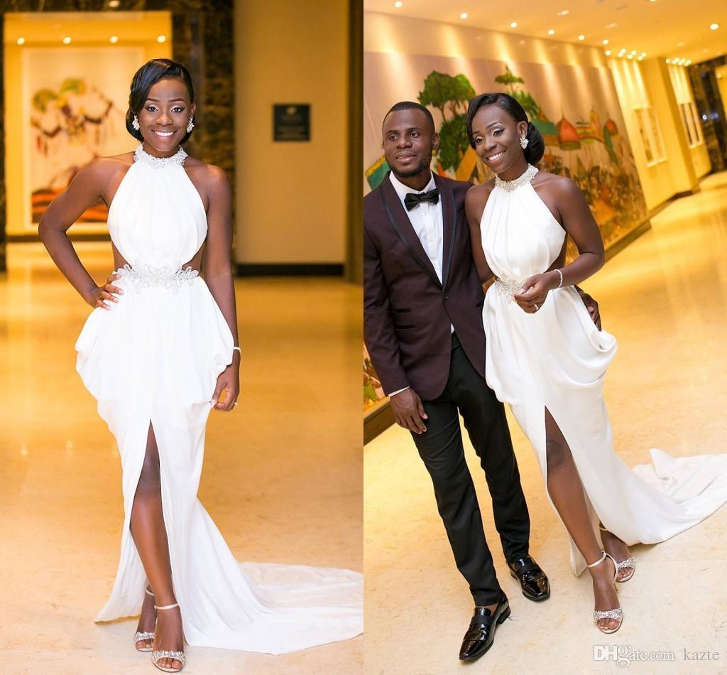 2018 africano nigeriano meninas negras Prom Formal Vestidos de alta Neck Ruffles Chiffon frisado cristais frente divisão vestido de noite vestido