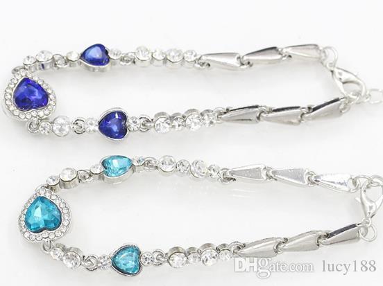 Bilezikler moda okyanus kristal kalp ile kadın moda zirkon kalpler Takı aksesuarları
