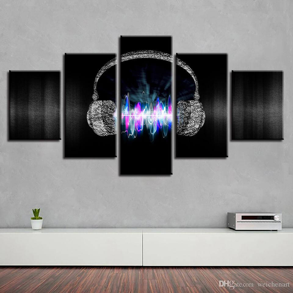 Art Painting HD Printed Modular Canvas Electricity Waves Headphones Framed Home Decor Living Room Music Wall Pictures