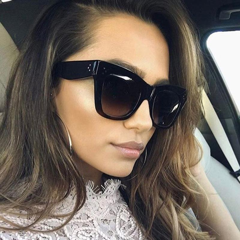 39b7b04633bd Luxury Design Sunglasses Women Brand Rectangle PC Frame Gradient Lens  Classic Rivet Shades Female Fashion Eyewear Womens Cheap Prescription  Sunglasses ...