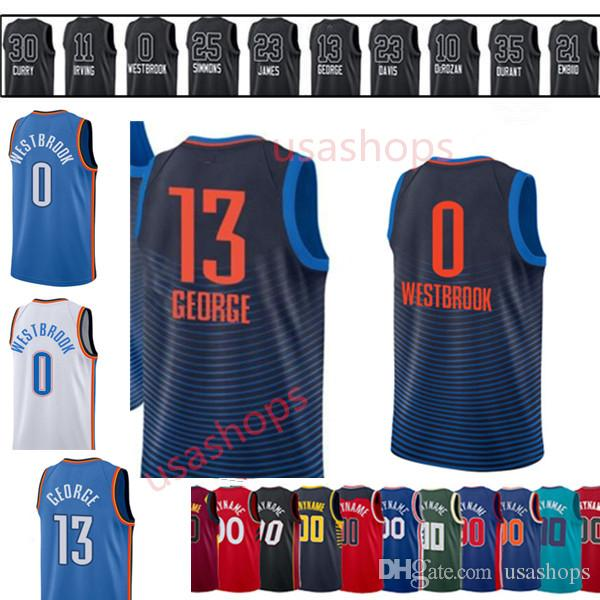 2a58fd41f9be Mens 0 Russell Westbrook Oklahoma City 13 Paul George New Blue White  Embroidery Logos All Stitched Stitched Mens Kids Online with  19.99 Piece  on Usashops s ...