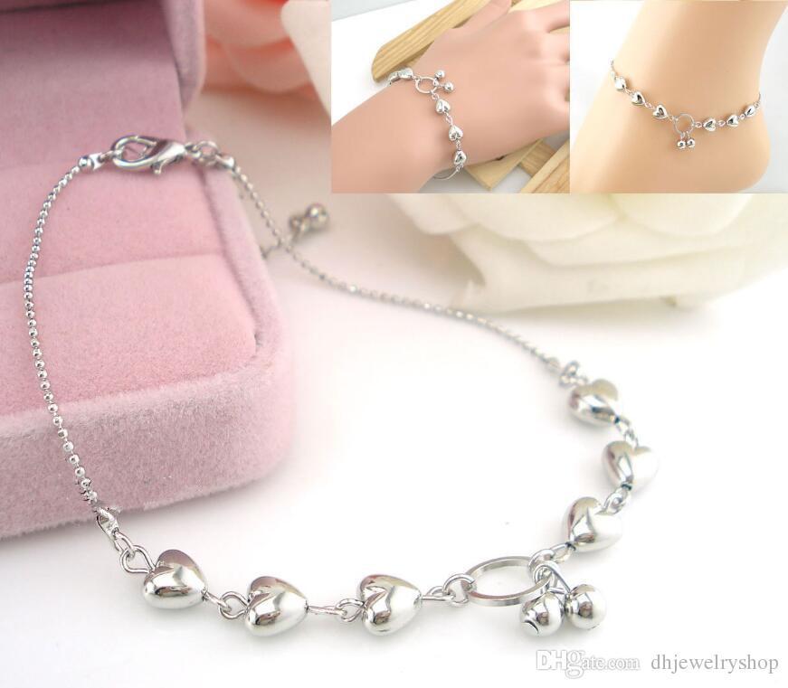 Moda argento 925 gioielli in argento massiccio amore cuore argento catena sandalo da spiaggia caviglia braccialetto cavigliera piede gioielli le donne