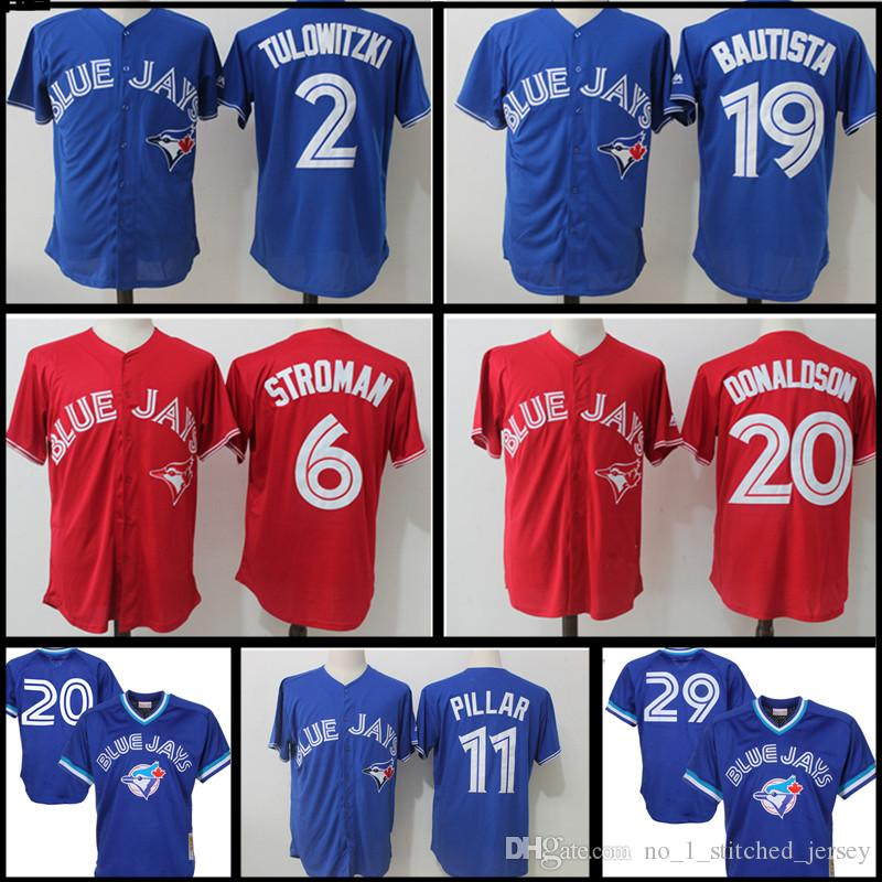 5e9c39d631e Toronto Blue Jays Jersey Men s 6 Marcus Stroman 11 Kevin Pilar 19 Jose  Bautista 29 Joe Carter 12 Roberto Alomar Stitched Jerseys Stitched Logos  Free ...