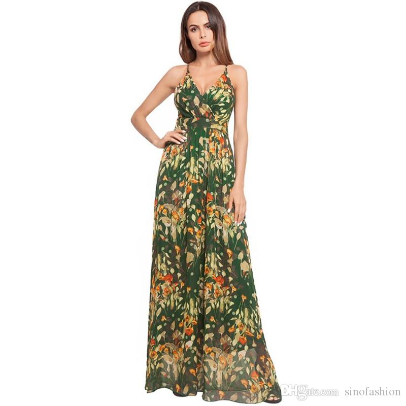 d80575464a Sundress Maxi Dress Chiffon Floral Print Bohemian Style Long Dress Women  Sexy Backless Cross Braces Dresses
