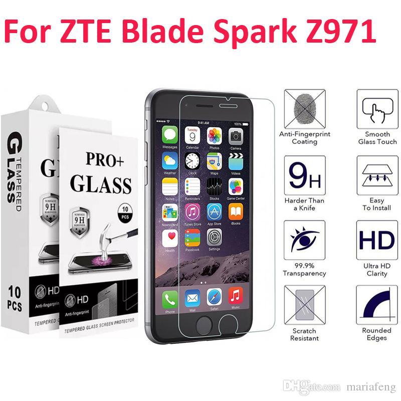 For Zte Zmax Champ Z971VL Grand lte Z916 Avid 916 Majesty Pro Z798 Blade  Spark Z971 Tempered Glass Screen Protector With packaging