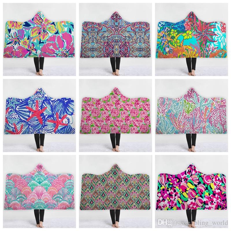 Floral Hooded Blankets 3d Printed Throw Blanket Flower
