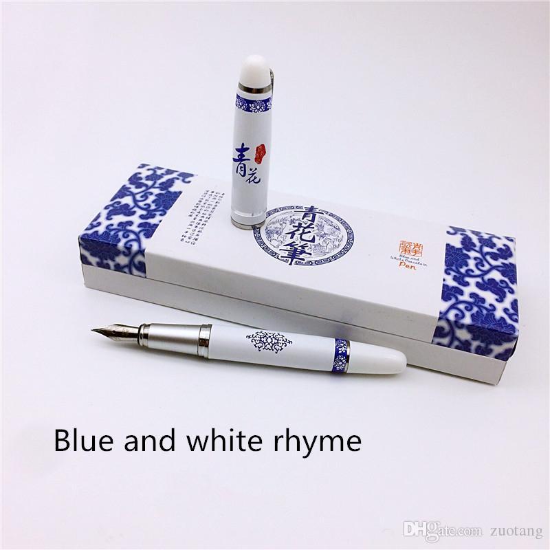 Blauw en wit porselein klassieke Chinese vulpen vintage hoge kwaliteit zakelijke cadeau kalligrafie inkt pen met geschenkdoos