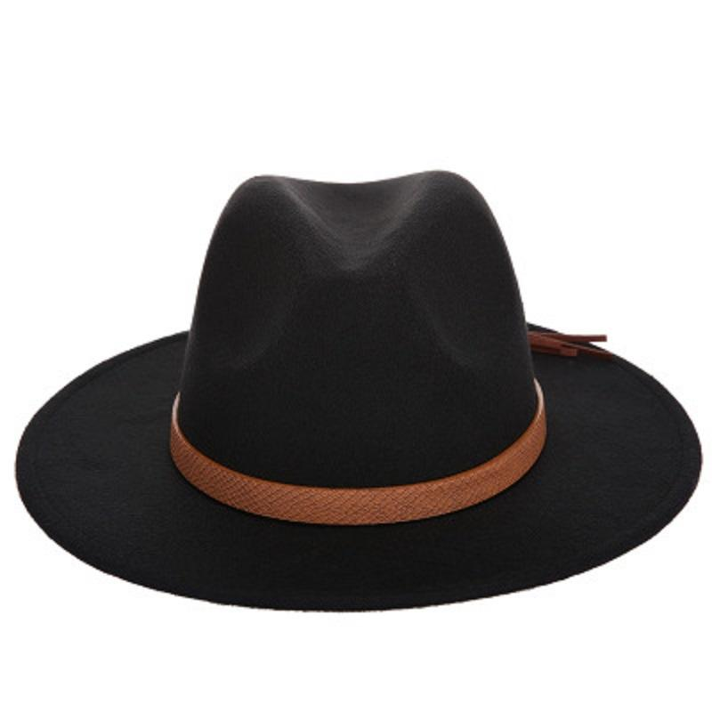 40170e77c6188 Wide Brim Hat Autumn Winter Sun Hat Women Men Fedora Hat Classical Wide  Brim Felt Floppy Cloche Cap Chapeau Imitation Wool Cap Wholesale Wool Hat  Black Hats ...