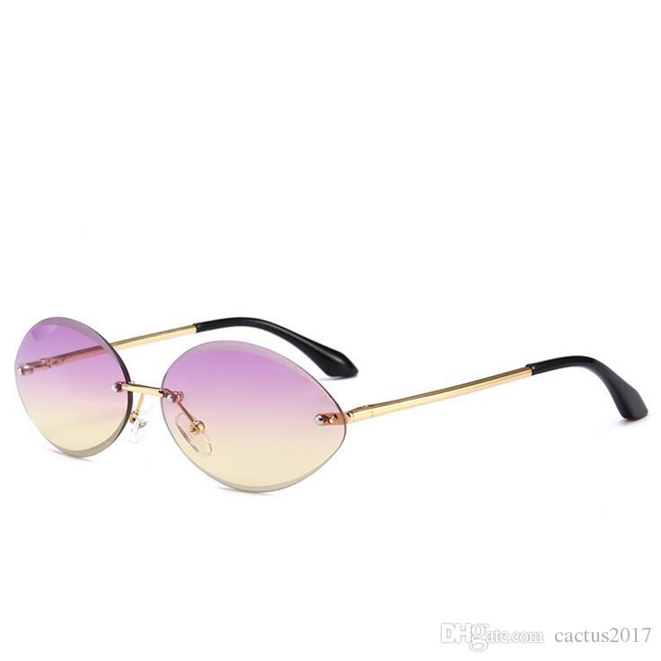 b9af99b3678 Rimless Small Oval Clear Lens Sunglasses Women Retro Fashion Gradient  Crystal Shades Sun Glasses For Women Vintage Small Round Glasses Sunglasses  Hut ...