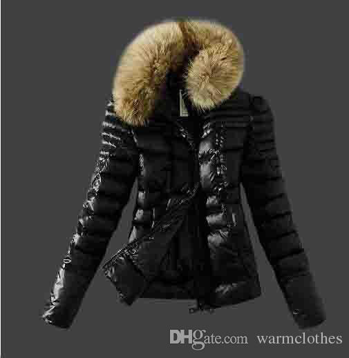 sports shoes acaad 85cb4 Woman Down Jacken Dünne leichte Daunenjacke mit Kragen Weibliche Kleidung  Echter Waschbär Pelzkragen Kapuze
