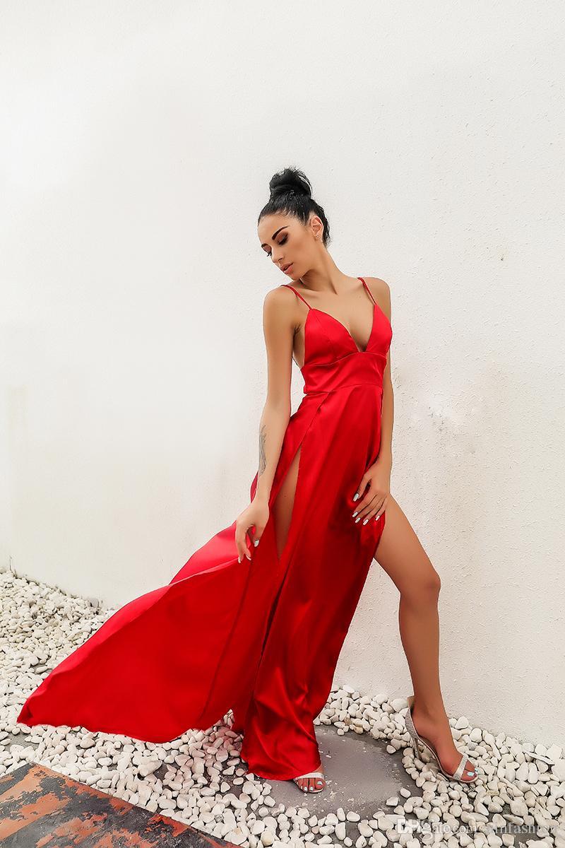 Vestido de Verão Alta Dividir Red Maxi Vestido Mulheres Sólidos Sexy Andar de comprimento Chistamas Partido Prom E À Noite Praia Clubwear vestidos longos
