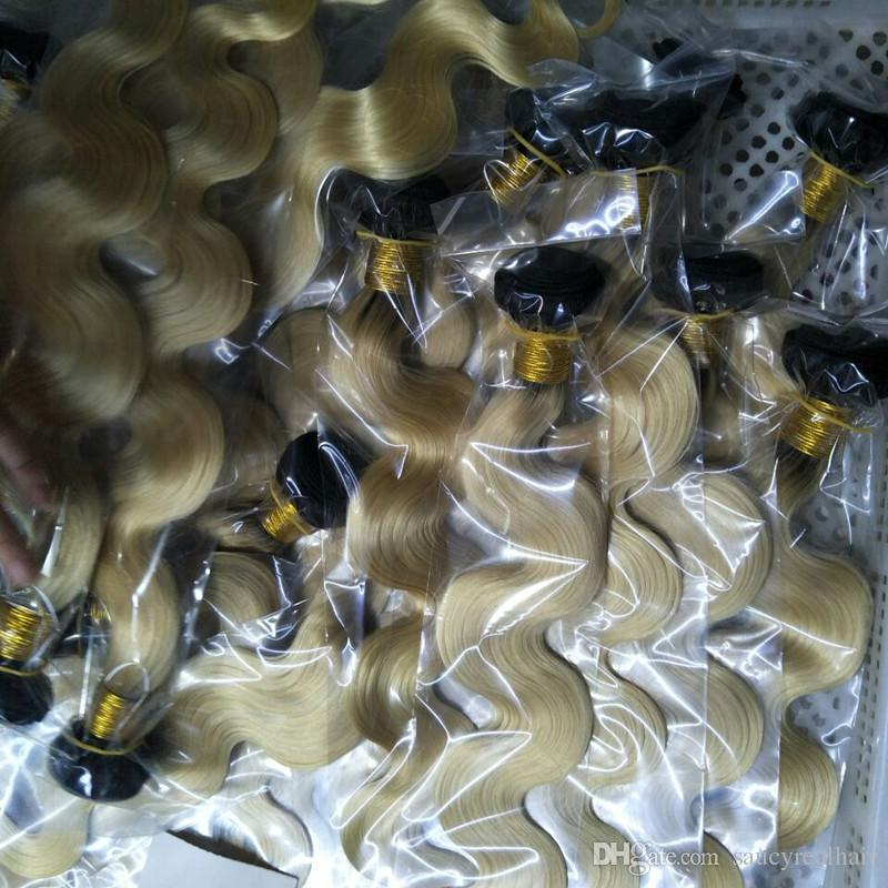Good Quality Russian Ombre T1B/613 Two Tone Color Hair 3 Pcs Lot 100% Unprocessed Hair Body Wave Wavy Weave, free Shipping
