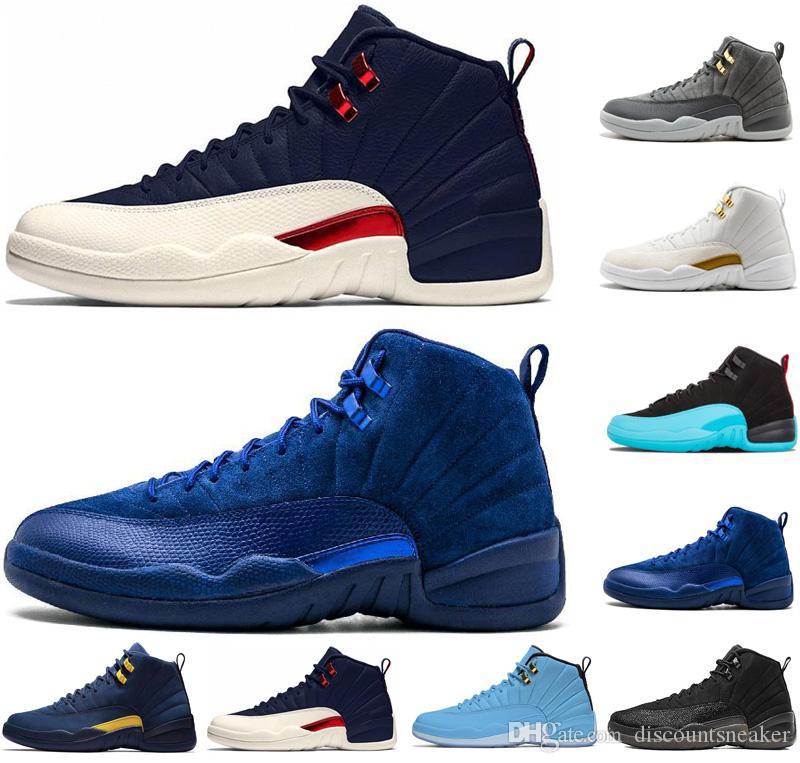 795423c6379988 New 12 12s Mens Basketball Shoes Michigan Bulls College Navy ...