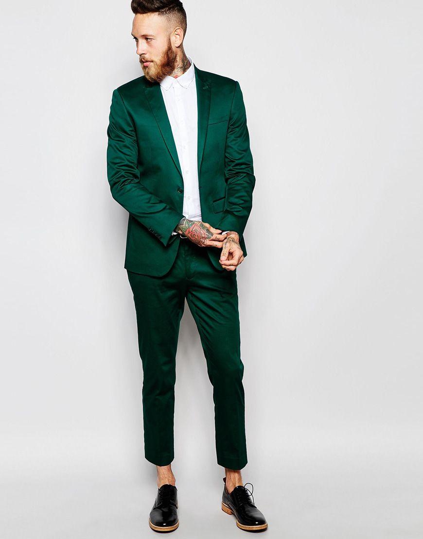 Superventas 2018 Por Encargo Verde Satén Verde Esmoquin Chaqueta Slim Fit Cena Fiesta de Trajes de Prom Novio Esmoquin Padrinos de boda Trajes de Boda