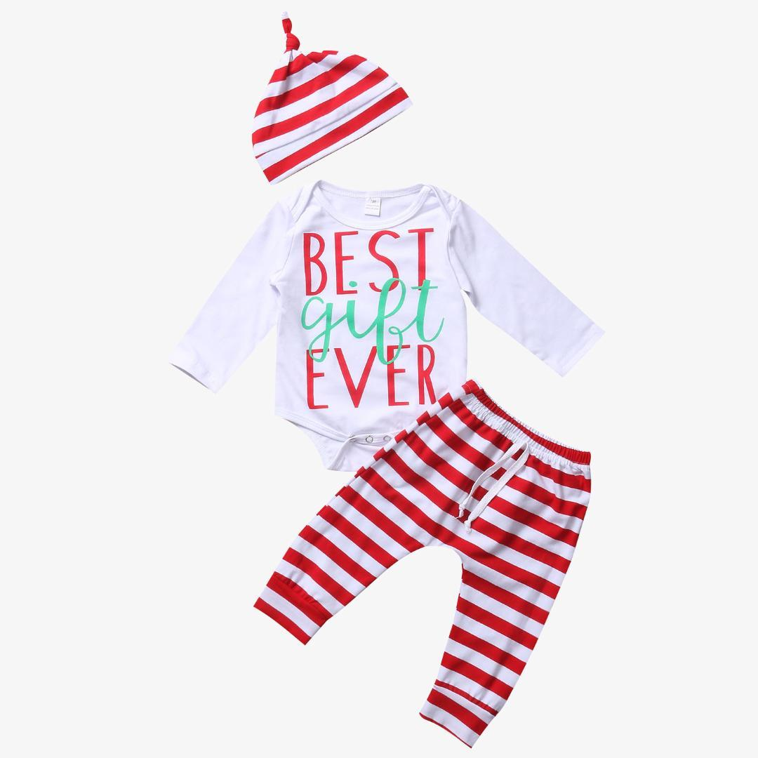 1f8256181 Christmas Set Newborn Baby Girl Boy Set Cotton Striped Long Sleeve Top  Romper+Pants Hat Outfit Best Gifts Clothes