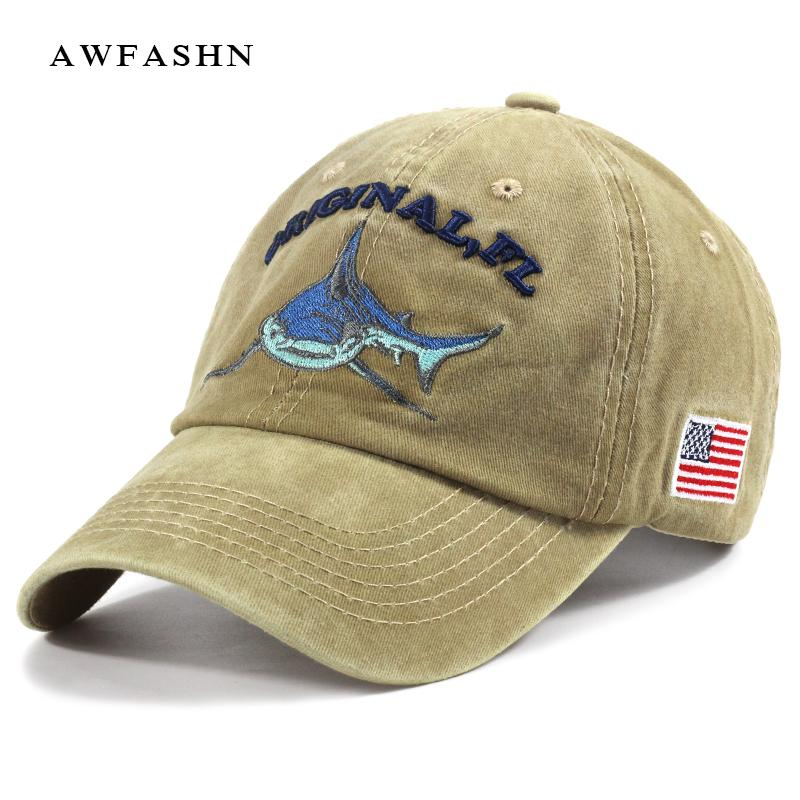 Shark embroidered baseball caps hip hop hat man woman fashion high quality  black american flag bone solid vintage sport trucker