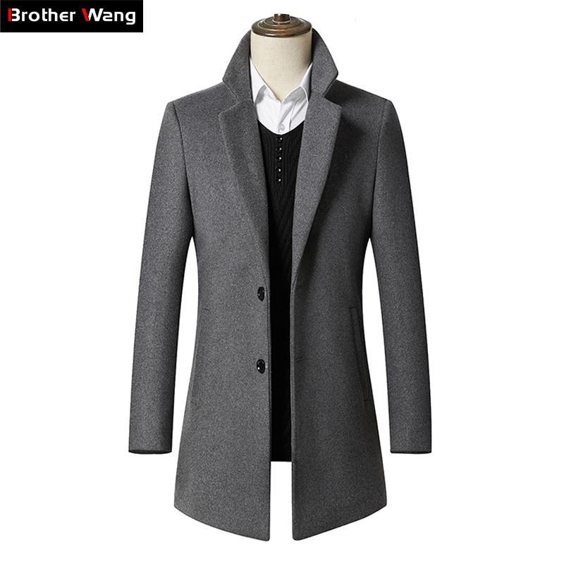 7e4ab2252b9f 2018 New Autumn Winter Men's Long Section Wool Coat Business Casual Classic  Style Slim Fit Woolen Jaket Male Brand Clothes
