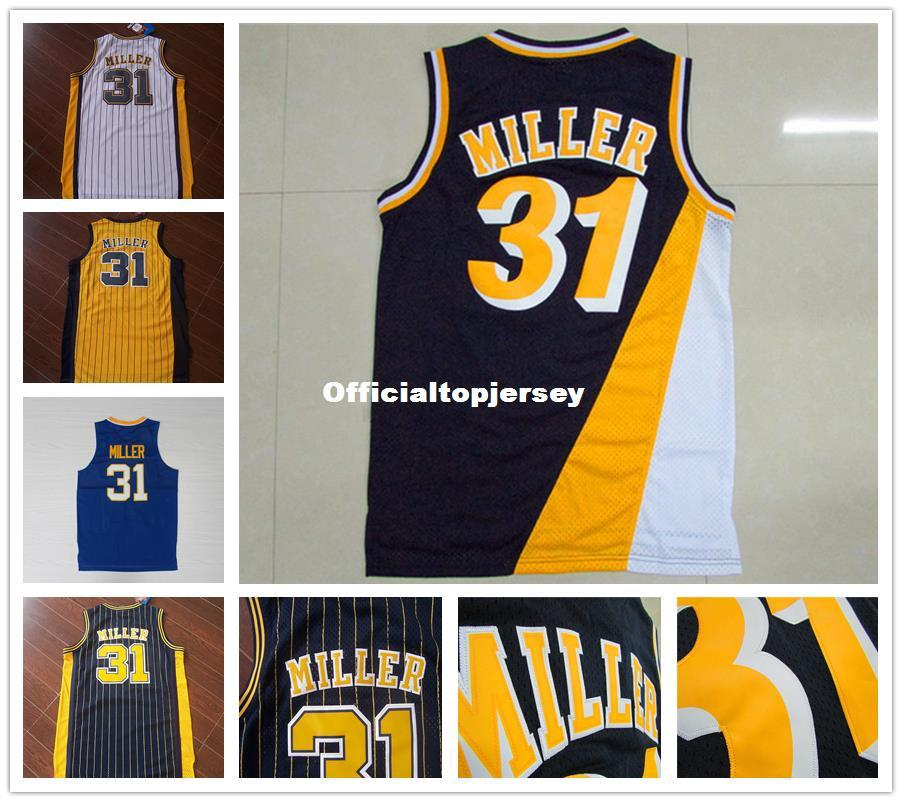 Cheap Men S Basketball Jersey Blue Black Yellow 31 Reggie Miller