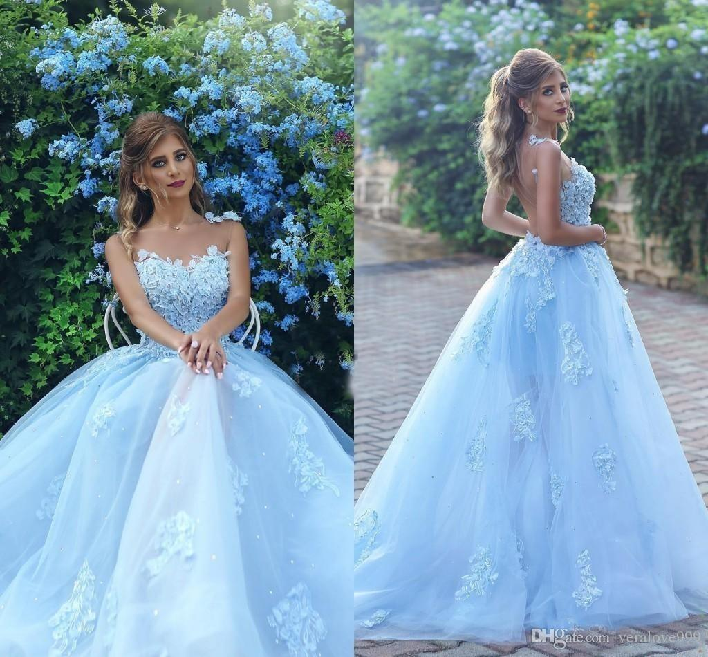 d79a1fea940 Modest Arabic Prom Dresses Sheer Neckline Appliques Backless A Line Sweep  Train Light Sky Blue Evening Pageant Party Gowns Quinceanera Dress Stylish  Prom ...
