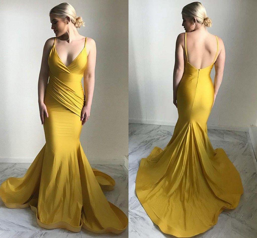 Simple Cheap Mermaid Prom Dresses Spaghetti Straps Deep V Neck ...