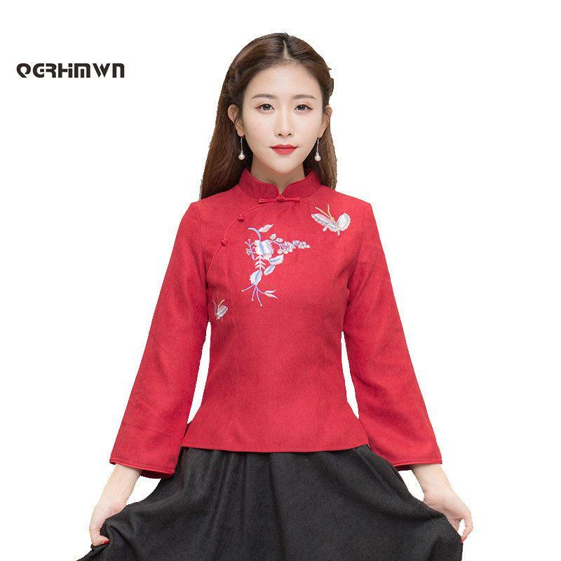 198b2eda100876 2019 Vintage Embroidered Tang Suit Blouse Autumn And Winter Traditional  Chinese Long Sleeve Women Cheongsam Shirt Daily Tops M 3XL From Yuanchun,  ...