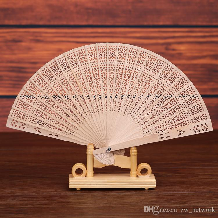 Custom logo! Chinese Sandalwood Scented fans Wooden Openwork craft fan personal Hand Held Folding Fans for Wedding Birthdays Home Decoration