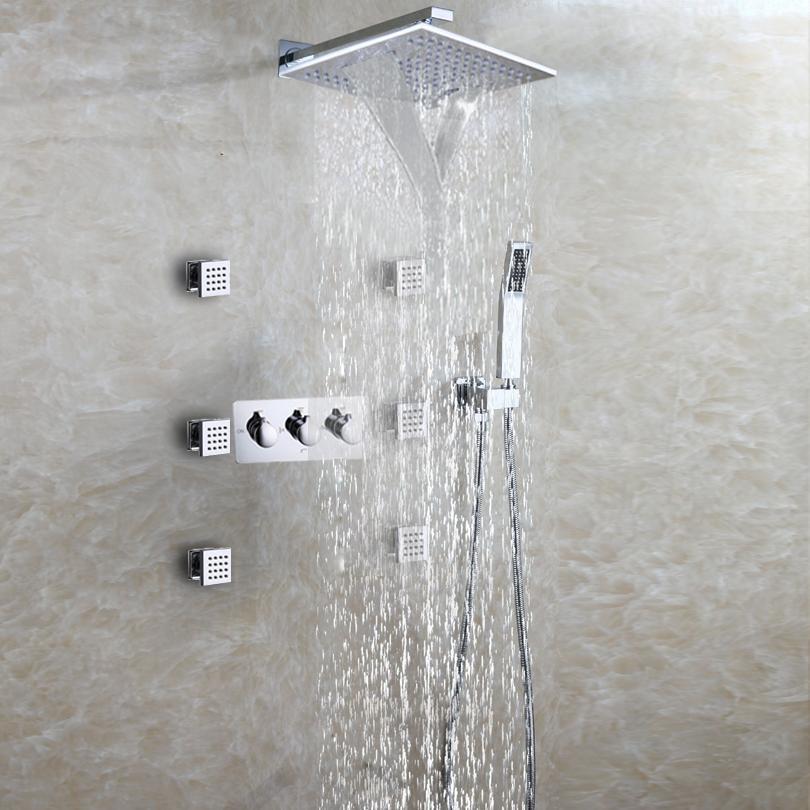Silver Bathroom Fixtures Dulabrahe Waterfall Bathroom Shower Mixer Faucet Set Wall Mounted Rain Bath Shower Head Tap Black Shower Equipment