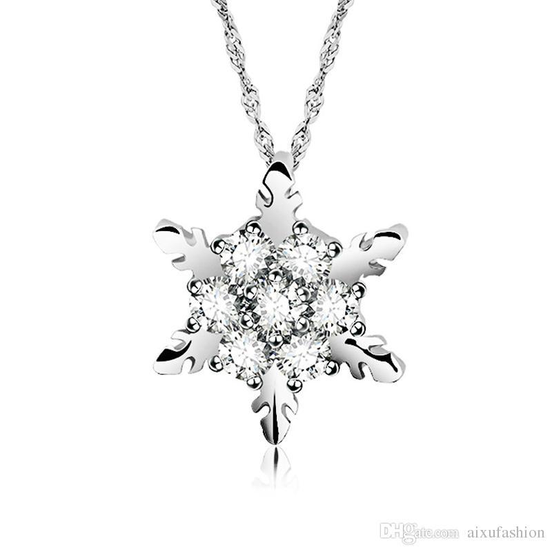 Nouveau Mode Flocon De Neige Cristal Pendentif Collier OL Style Chaîne Neckalces Femmes De Noël Cadeaux Choker Jewerly