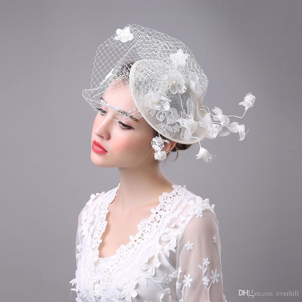 JaneVini White Womens Wedding Bridal Hat With Hair Pin Flower Birdcage Veils Hat Fascinator Hats Evening Party Lace Fascinators 2018