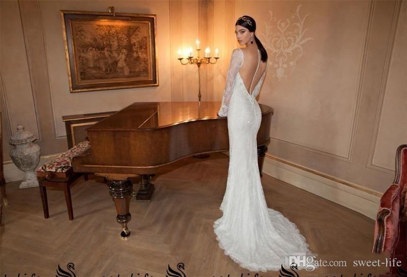 Berta 2020 Vestidos de novia de sirena sexy con capas Manga de gasa desmontable Capa con cuello en V Manga larga Vestidos de novia de encaje transparente