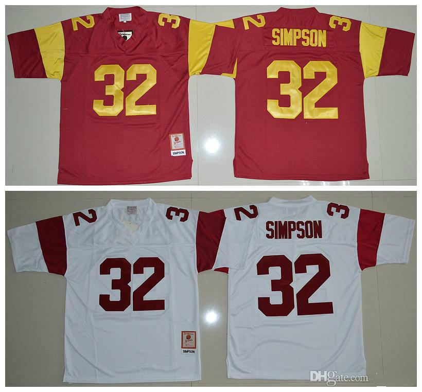 more photos 24e20 b3ec1 O.J Simpson USC Trojans Jerseys #32 O.J Simpson Jersey Red White College  football jerseys Mix Order ! Top Quality !