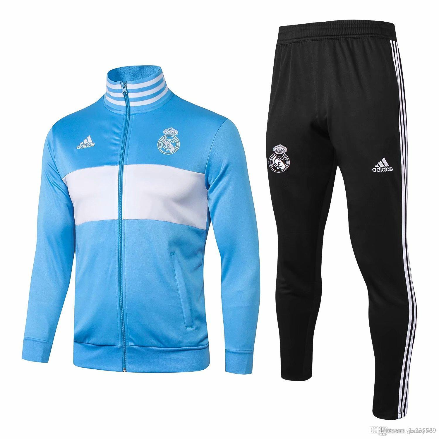 72991740 AA 2018 19 Real Madrid tracksuit men's soccer chandal football tracksuit  2018 19 adult training suit skinny pants Sportswear