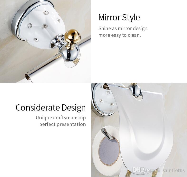 Gold Toilet Paper Holder with diamond Roll Holder Tissue Holder Solid Brass Bathroom Accessories Products Paper Hanger