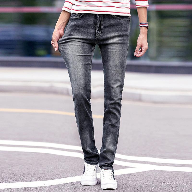 Neue Farbe Grau Männlichen Casual 2018 Slim Mann Stretch Gerade Hosen Lange Fit Klassisches Stoff Gute Design Jeans Herren eYIEH2WD9