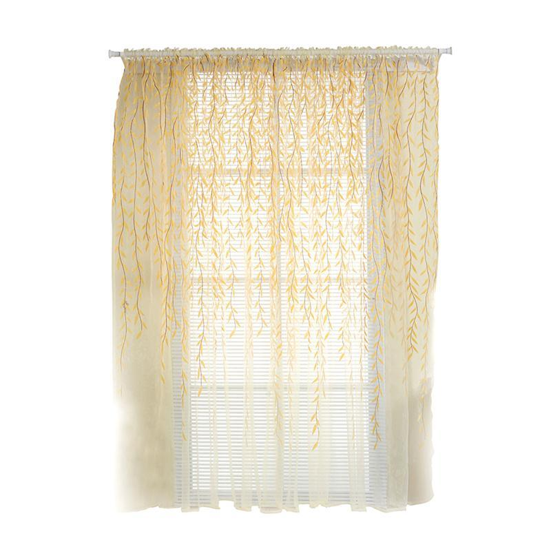 Shade Window Drape Valances Curtain Transparent Tulle Window Sheer Screen  For Balcony Bedroom 100X200CM (Yellow)