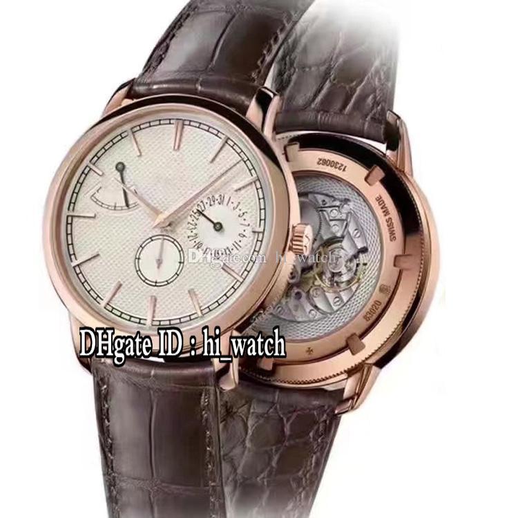 a45b36ec106 Compre Novo Património Traditionnelle 83020   000r 9909 Rose Gold White  Dial Automático Mens Watch Power Reserve Pulseira De Couro Marrom Relógios  Vca139b2 ...