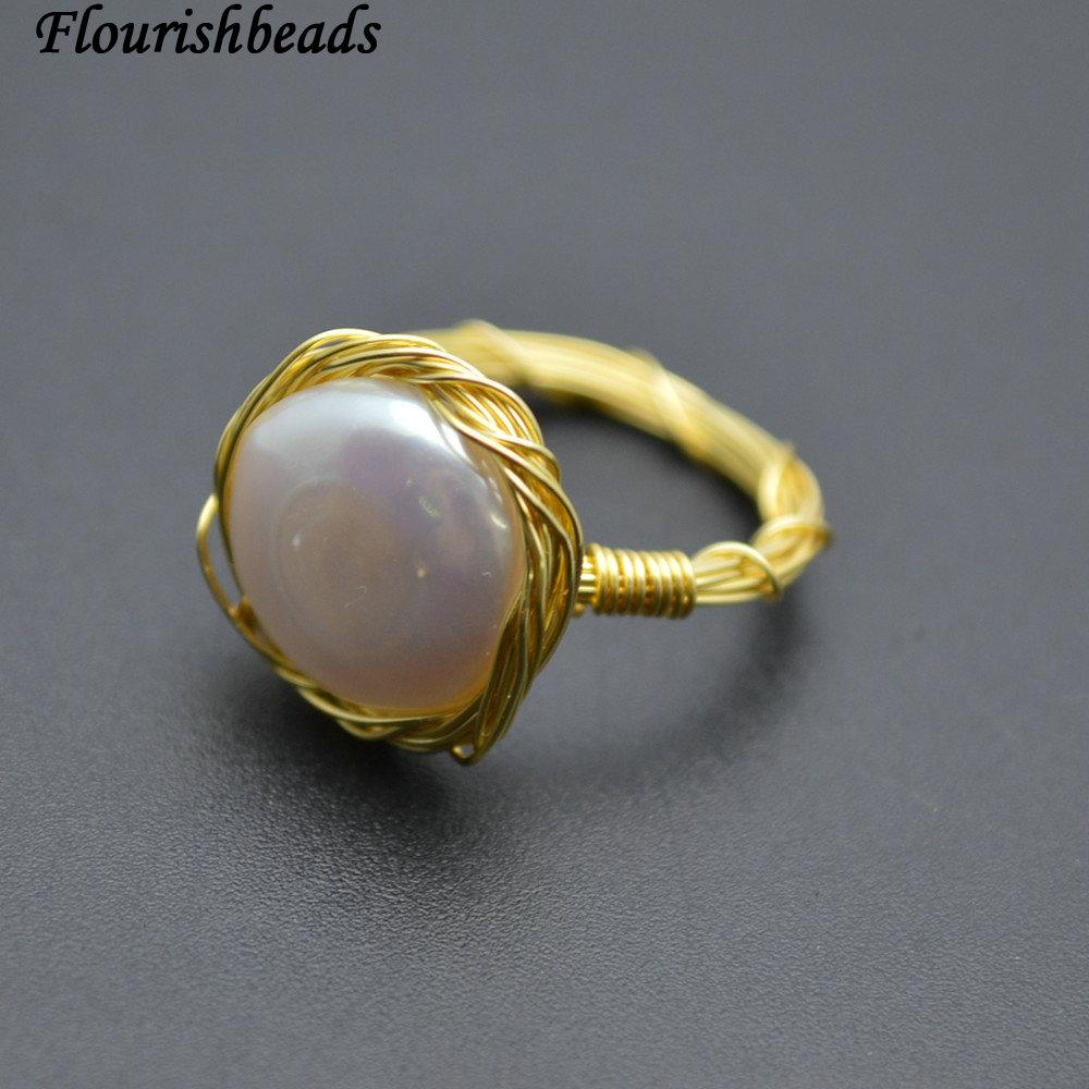 2018 18k Gold Plating Copper Wire Wrapped Natural Pearl Coin Beads ...