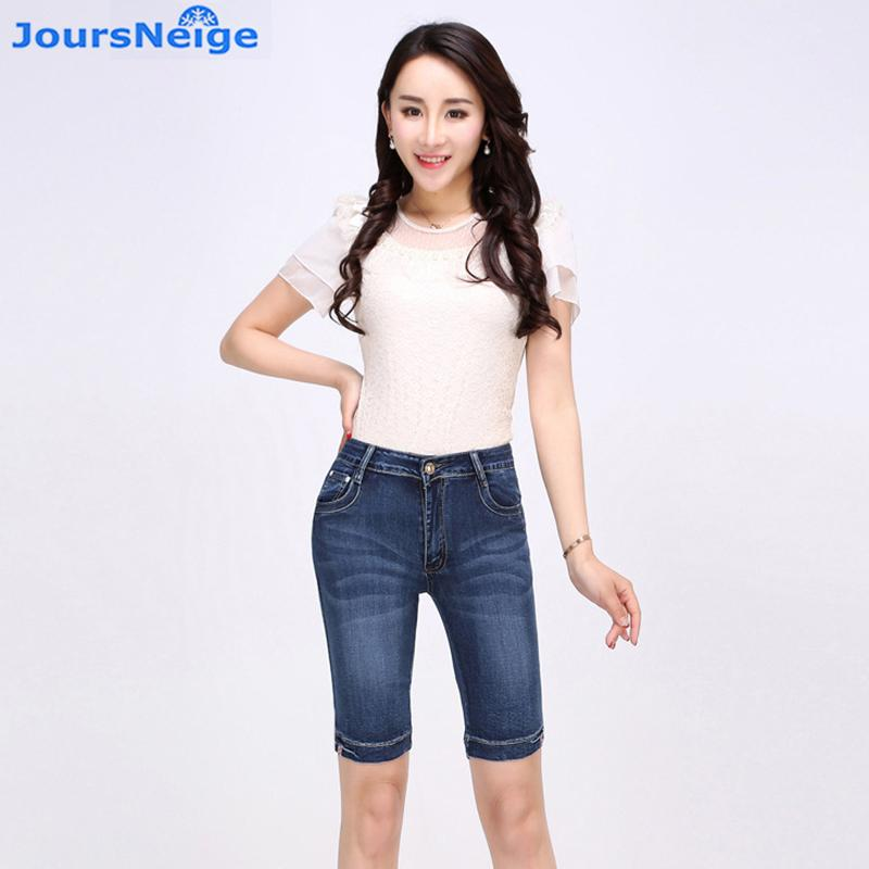 1929e4ed6 2019 Knee Length Denim Shorts Women 2017 Summer New Stretch Skinny High  Waist Jeans Woman Short Jeans Femme Plus Size From Pingpo, $30.03 |  DHgate.Com