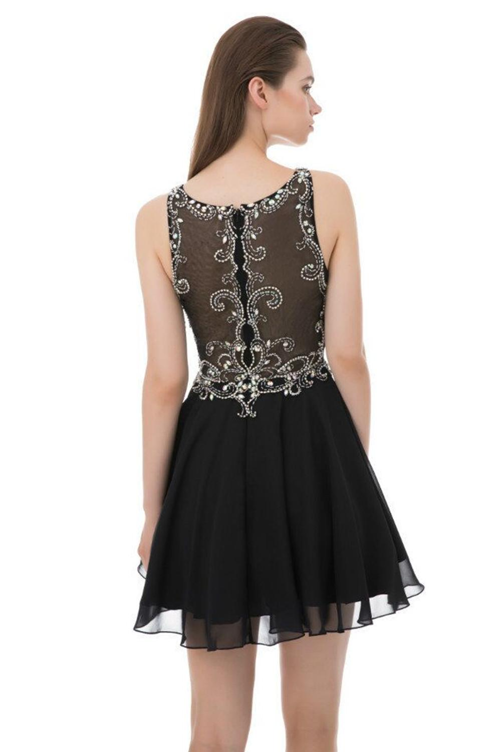 Little Black Cocktail Party Dress Rhinestone Beaded Short Prom Dresses 2020 See Through Back Homecoming Dresses Chiffon Sweet 16 Dress