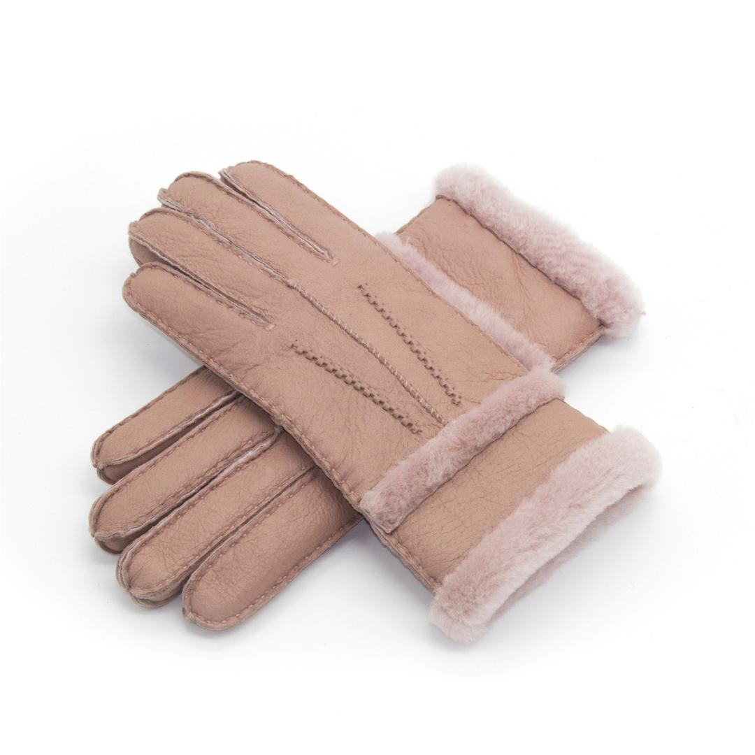 100% Wool Winter Gloves Women Real Sheepskin Cashmere Fur Warm Gloves Ladies Full Finger Genuine Leather Mitten
