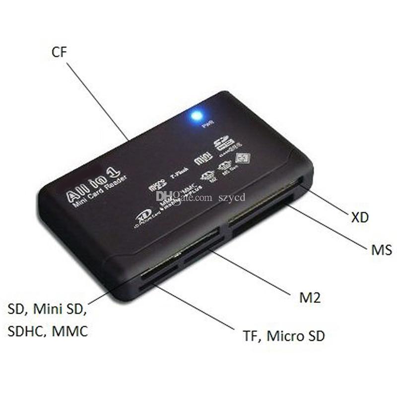 Tudo em um 1 leitor de cartão de memória USB SD externo universal SDHC Mini Micro M2 MMC XD CF MS