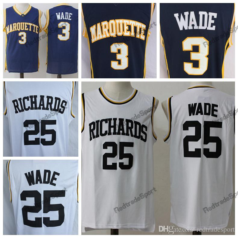 684df9d94 Mens Vintage 25 Dwyane Wade Richards High School Basketball Jerseys ...